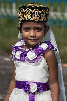 Portrait of a Muslim girl during Eid al-Adha, Red Road, Madian, Kolkata, India.