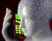 Phrenology head & mobile phone