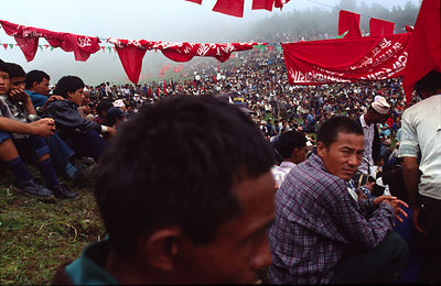 Peasants gather for a Maoist rally in Dolakha, Nepal