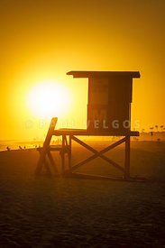 Lifeguard Tower M Newport Beach Sunset Photo