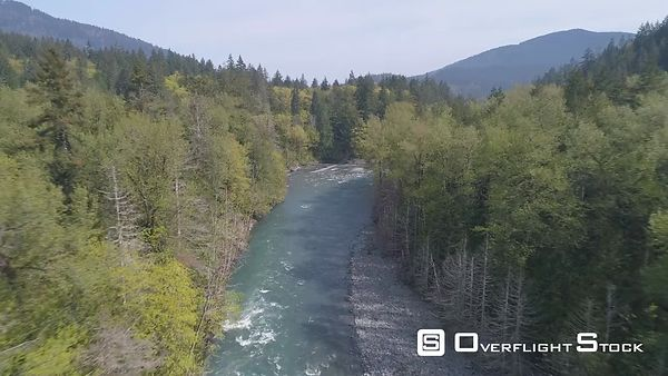Drone Video medium altitude on the Elwha River Washington State