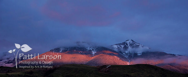 Glow of Sunset on Absaroka Mountain Range