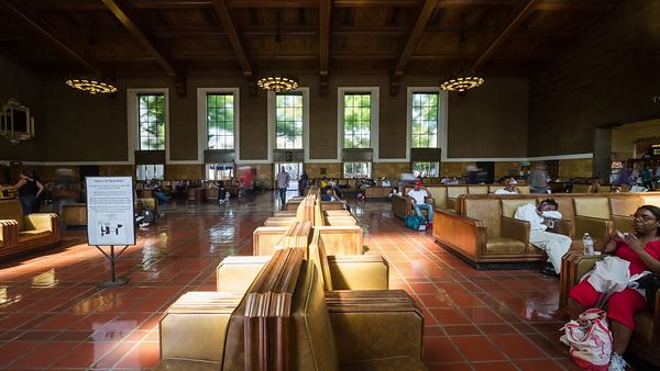 Medium Shot: Union Station's Hurry Up & Wait Room