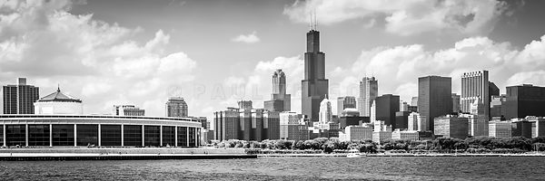 Chicago Skyline Panorama Photo in Black and White