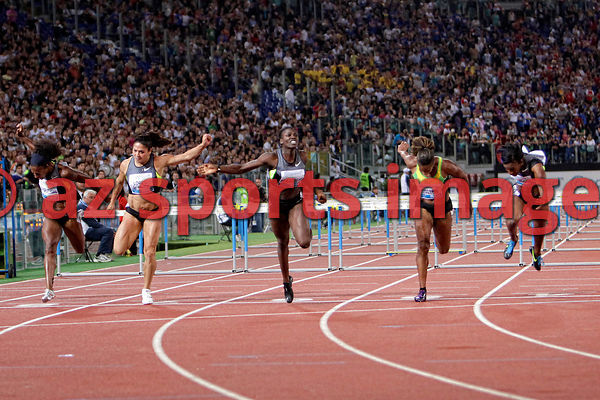 2012 Rome Golden Gala - Rome Diamond League 100 Metres Hurdles - W. Dawn Harper USA 12.66 sec. wins the race 2nd place Kellie Wells USA 12.67 3rd place Brigitte Foster-Hylton JAM 12.78 4th Michelle Perry USA 12.78 and 5th place Priscilla Lopes-Schliep CAN 12.81sec.