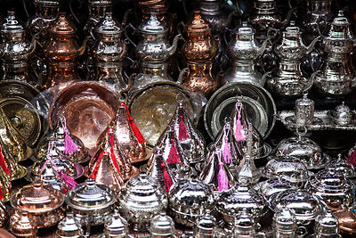 Shiny tea and coffee sets in the spice market, Istanbul