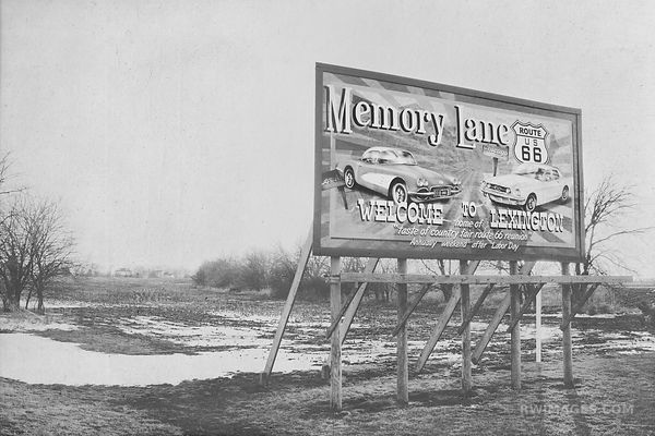 ROUTE 66 MEMORY LANE ILLINOIS BLACK AND WHITE