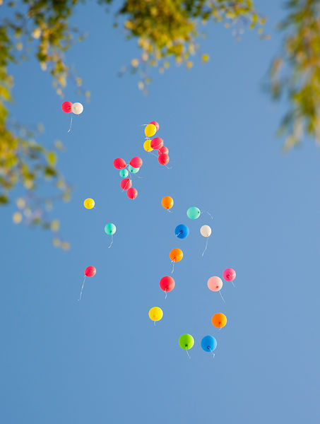 Germany, Bavaria, Variety of balloons flying in sky