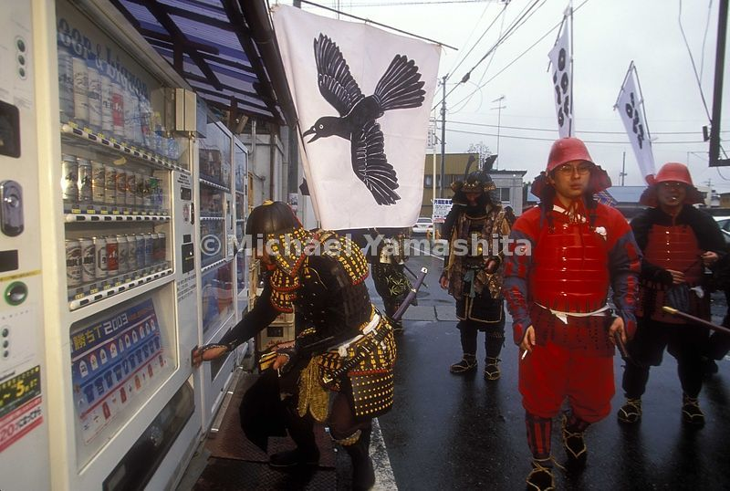 People dress up in rented armor for the parade and battle in Yonezawa