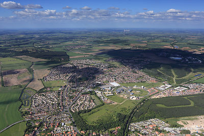 aerial photograph New Ollerton Nottinghamshire England UK