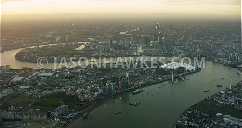 London Aerial Footage 02 Arena with River Thames.