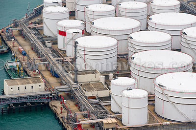 Aerial view of oil depot, Hong Kong
