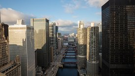 Bird's Eye: A Dramatic Cloud Front & Intense Shadow Rolling Over High-Rises & The Chicago River