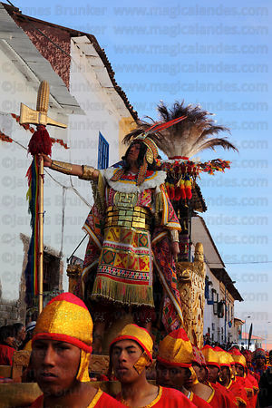 Bearers carry the Inca during processions for Inti Raymi festival , Cusco , Peru
