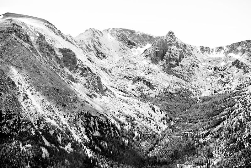 FOREST CANYON ROCKY MOUNTAIN NATIONAL PARK COLORADO BLACK AND WHITE