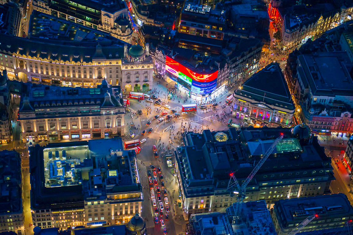 Night aerial view of Piccadilly Circus, London