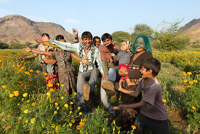 Happy family of flower farmers, Amba village, Rajasthan, India