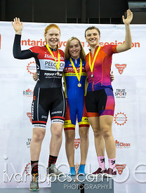U17 Women Individual Pursuit Podium. 2016/2017 Track O-Cup #3/Eastern Track Challenge, Mattamy National Cycling Centre, Milton, On, February 11, 2017