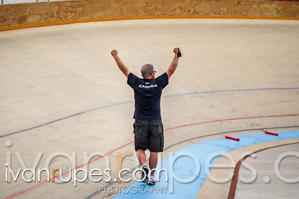 Coach Rob Good celebrating a victory for Canada in women's team pursuit at the 2013 UCI Junior Pan American Track Championships, Aguascalientes, Mexico, July 11, 2013
