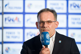 Sinisa Ostojic at the opening press conference  during the Final Tournament - Final Four - SEHA - Gazprom league, Skopje, 12.04.2018, Mandatory Credit ©SEHA/ Sasa Pahic Szabo