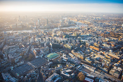 Aerial view of London, Clerkenwell towards City of London with West Smithfield and Farringdon Street.