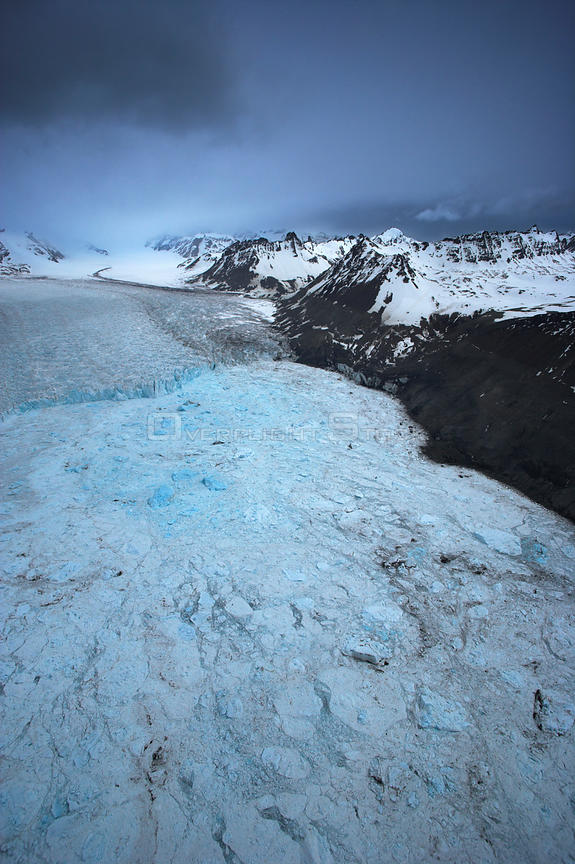 Aerial view of broken ice in front of the Neumayer Glacier, South Georgia, Antarctica, December 2006