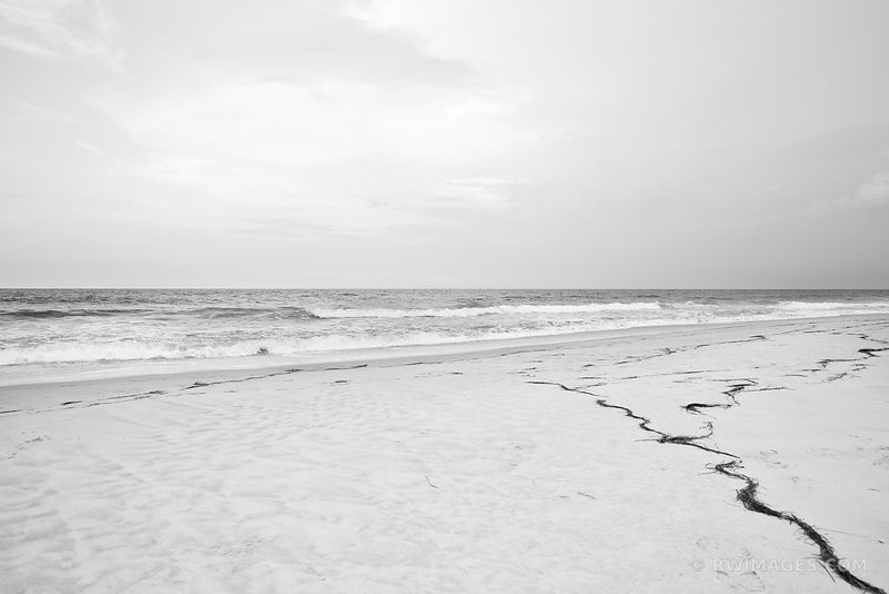 ATLANTIC OCEAN BEACH PEA ISLAND OUTER BANKS NORTH CAROLINA BLACK AND WHITE