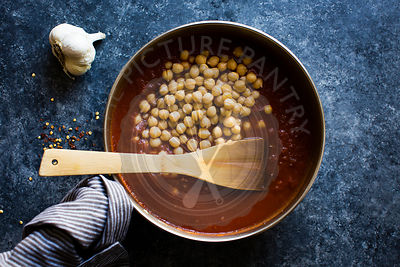 chickpeas cooking in a pan