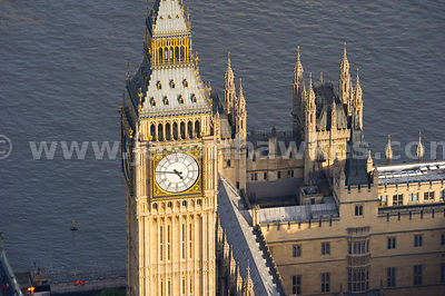 Aerial view of Big Ben, Westminster, London