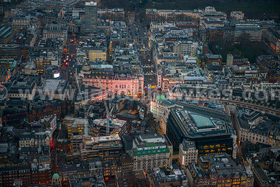 Aerial view of Piccadilly Circus at dusk, London