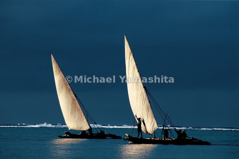 The day's journey is just beginning for these fishing adhows setting sail from Matemwe on the northeast coast of Zanzibar at dawn. It was from here, the Swahili coast, That Zheng He set sail for home after his last and longest journey.