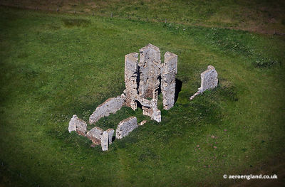 aerial photograph of the ruins of  St James' Church, Bawsey Norfolk UK