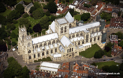 aerial photograph of York Minster, York England UK