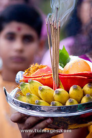 bowl of offerings during thaipusam