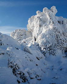 Snow Covered rock formation, Glyderau Range, Snowdonia National Park