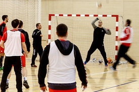 Players of Vardar during the Final Tournament - Final Four - SEHA - Gazprom league, training, Varazdin, Croatia, 31.03.2016, ..Mandatory Credit ©SEHA/Stanko Gruden..