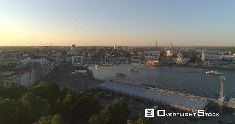 Helsinki City, Aerial Tilt View Towards Helsinki Cathedral, in the South Harbor Bay, on a Sunny Summer Evening Dusk, in Helsingfors, Uusimaa, Finland