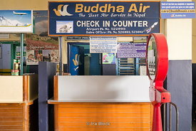 Check in counter of Buddha Air at Bhairahawa Airport, Lumbini, Nepal.