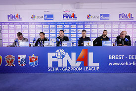 Zlatko Horvat, Slavko Goluza, Raul Gonzales, Stojanche Stoilov during the Final Tournament - Final Four - SEHA - Gazprom league, Press conference in Brest, Belarus, 06.04.2017, Mandatory Credit ©SEHA/ Uros Hočevar