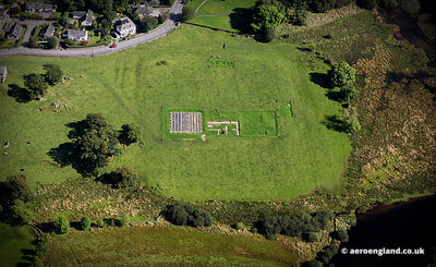 aerial photograph of Ambleside Roman Fort in the Lake District Cumbria England UK