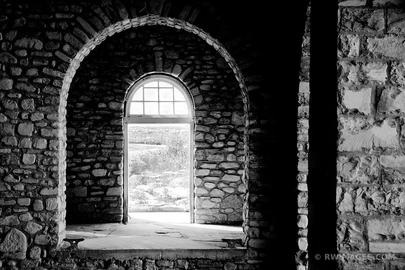 BOATHOUSE ROCK ISLAND STATE PARK DOOR COUNTY WISCONSIN BLACK AND WHITE