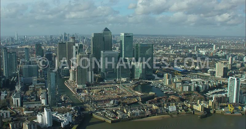 London Aerial footage, Canary Wharf with South Dock.