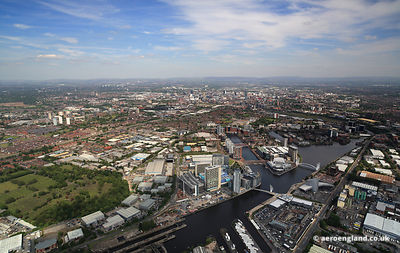 aerial photograph of MediaCityUK Salford Quays  Greater Manchester  England UK
