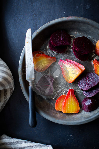 Sliced beetroot in a pan