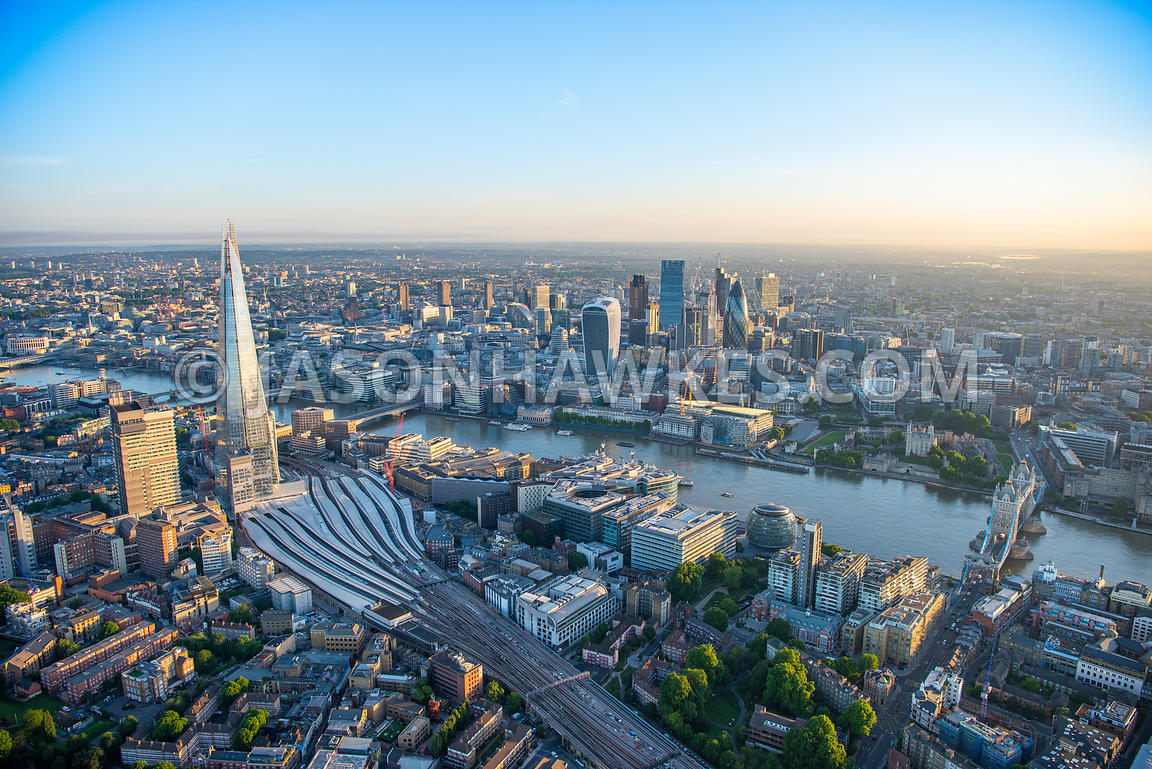 Aerial view of City of London Financial buildings with Borough and The Shard.