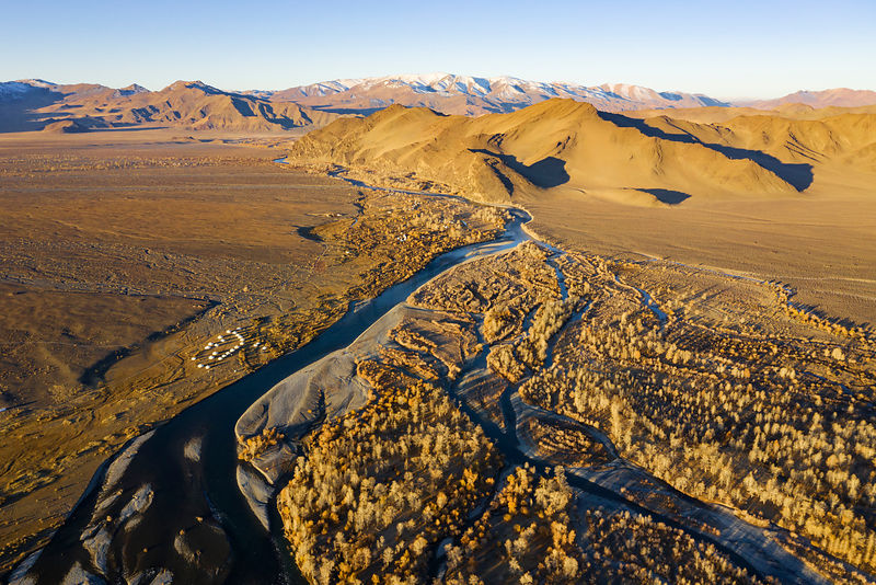 Aerial View of Ger Camps and the Khovd River