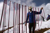Alpinist drying a rope