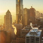View looking south east of downtown Chicago with morning sun and light, Chicago, Illinois, USA