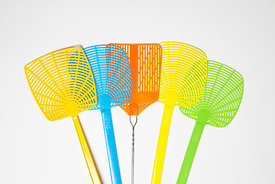 Multi-colored fly swatters