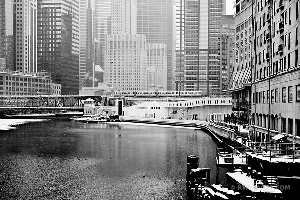 CHICAGO DOWNTOWN EL TRAIN HEAVY SNOW WINTER BLACK AND WHITE